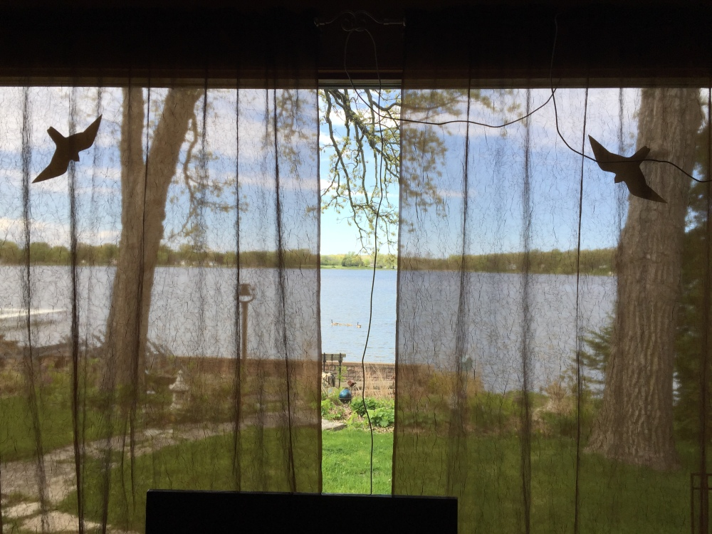 The view of Cross Lake out the back window. That's Wisconsin across the way!